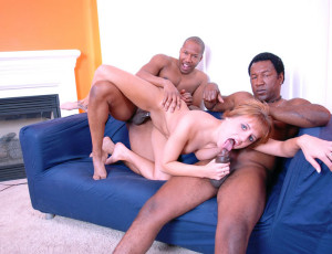 Interracial threesome with redhead